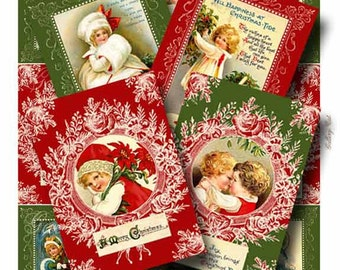 CHRISTMAS CHILDREN Digital Collage Sheet Instant Download for Scrapbooking Paper Tags Original Whimsical Altered Art by GalleryCat CS147