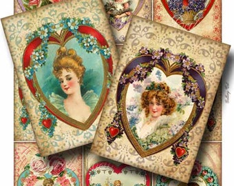 VALENTINE HEARTS Digital Collage Sheet Instant Download for Paper Crafts Art Projects Original Whimsical Altered Art by GalleryCat CS152