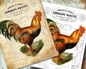 Vintage FRENCH ROOSTER Digital Collage Sheet 2 Large Images Print on Pillows T Shirts Bags Totes Paper Iron-On-Transfer GalleryCat CS165AB