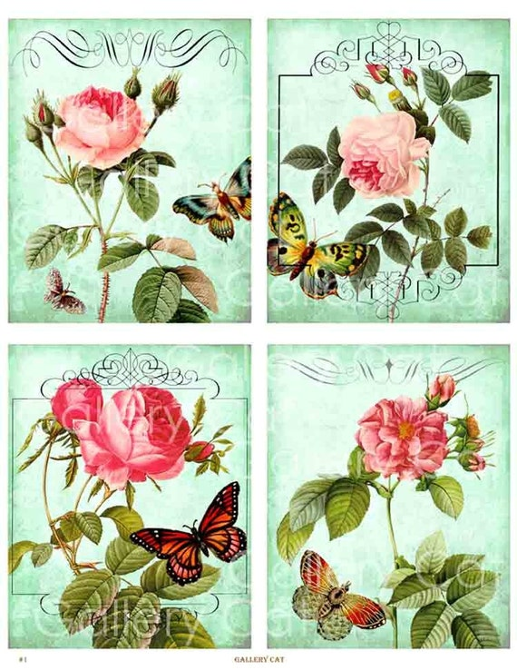 Antique Roses on Teal Digital Collage Sheet Instant Download Paper Crafts Decoupage Original Whimsical Altered Art by GalleryCat CS1