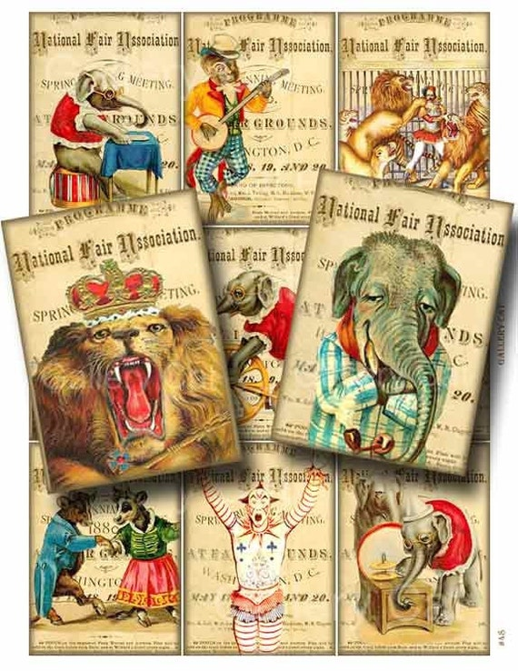 VINTAGE CIRCUS Digital Collage Sheet CS48 Instant Download Paper Crafts Original Whimsical Altered Art by Gallery Cat