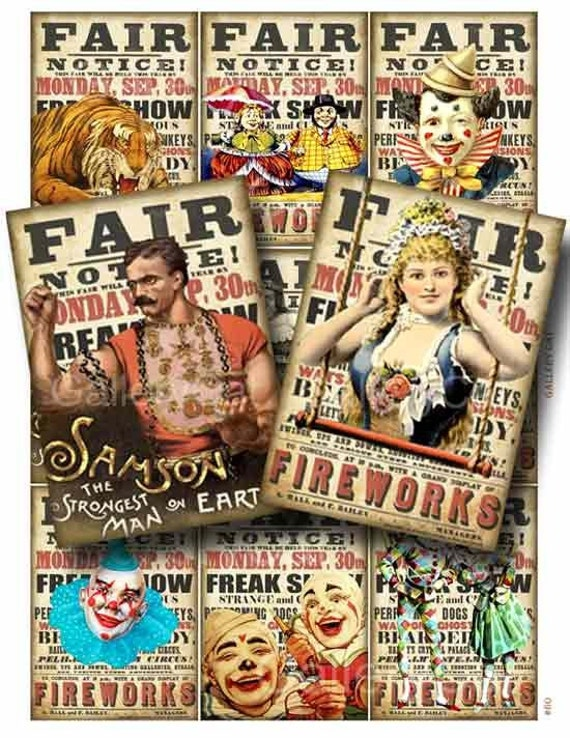 Fun Fair  Digital Collage Sheet Instant Download for Card Paper Crafts Journal Decoupage Original Whimsical Altered Art by GalleryCat CS60
