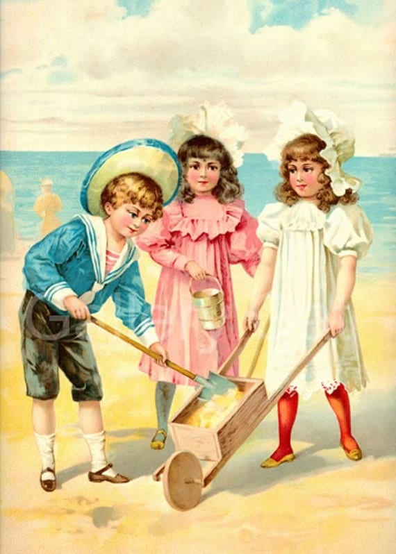 Victorian Children at the Beach Digital Collage Sheet Instant Download Original Altered Art by GalleryCat CS70