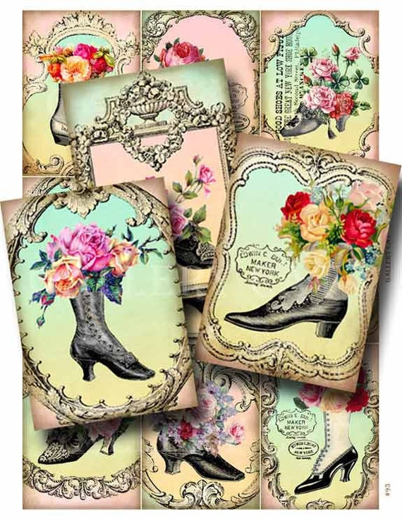 FANCY FEET Digital Collage Sheet Instant Download for Paper Crafts Scrapbooking Original Whimsical Altered Art by Gallery Cat CS93