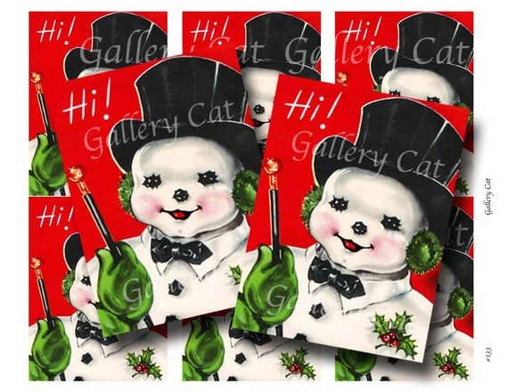 VINTAGE SNOWMAN Digital Collage Sheet Instant Download Paper Crafts Card Original Whimsical Altered Art by GalleryCat CS133