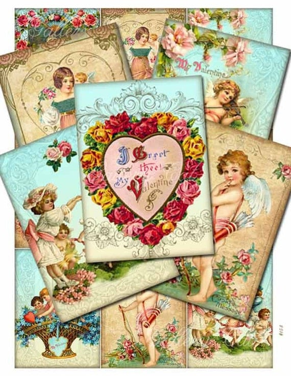 VICTORIAN VALENTINE Digital Collage Sheet Instant Download for Craft Projects Tags Cards Original Whimsical Altered Art by GalleryCat CS153