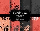 Coral Glow-  I N S T A N T • D O W N L O A D Digital Paper Set