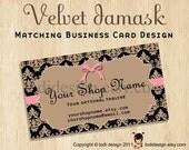 Business Card design to match Velvet Damask Premade shop set