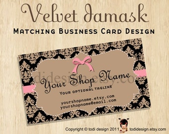 Business Card design to match Velvet Damask Premade shop set