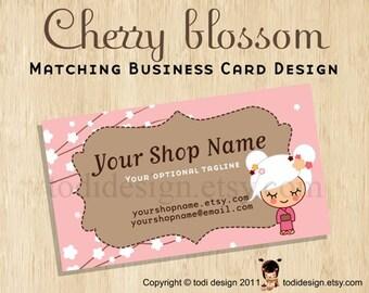 Business Card design to match Cherry Blossom Premade shop set