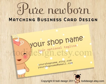 Illustrated Business Card design to match Pure newborn Premade shop set