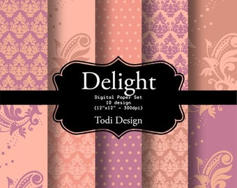 Delight-  I N S T A N T • D O W N L O A D Digital Paper Set