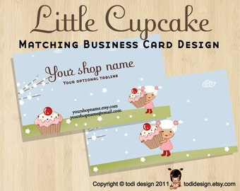 double sided illustrated Business Card design to match Little Cupcake Premade shop set
