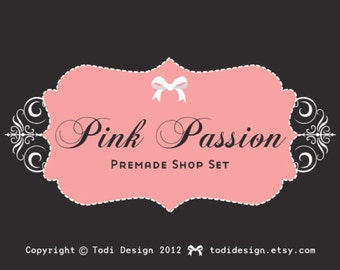 Pink Passion- Premade Etsy Shop Banner set