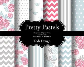 Pretty Pastels-  INSTANT DOWNLOAD Digital Paper Set