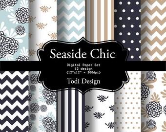 Seaside Chic- INSTANT DOWNLOAD Digital Paper Set