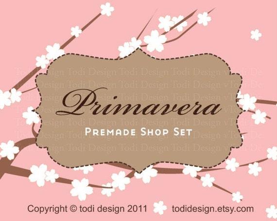 Primavera- Mini Premade Etsy Shop Banner set
