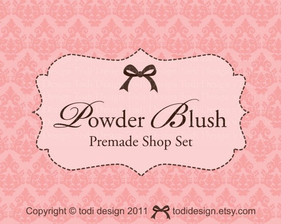 powder blush - Premade Etsy Shop Banner set