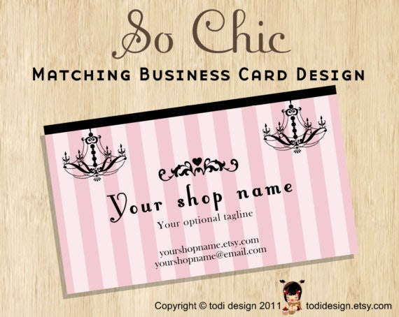 Business Card design to match So Chic Premade shop set