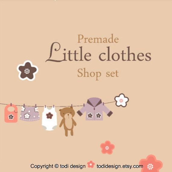 Premade Etsy shop set - Little Clothes