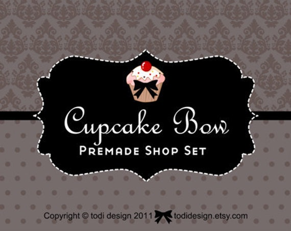 Cupcake Bow- Premade Etsy Shop Banner set