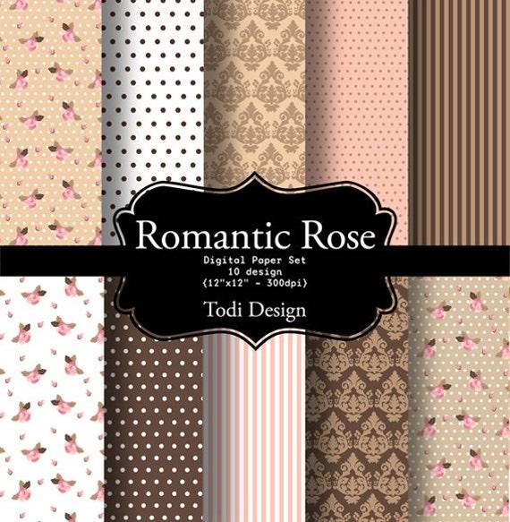 Romantic Rose  I N S T A N T • D O W N L O A D Digital Paper Set