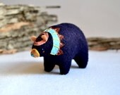 clan bear brave 6  - felt bear soft sculpture