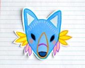 warrior fox - large art sticker
