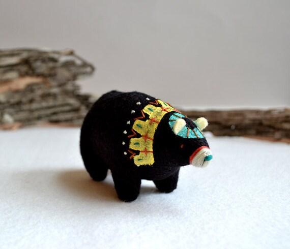 clan bear brave 7 - felt bear soft sculpture