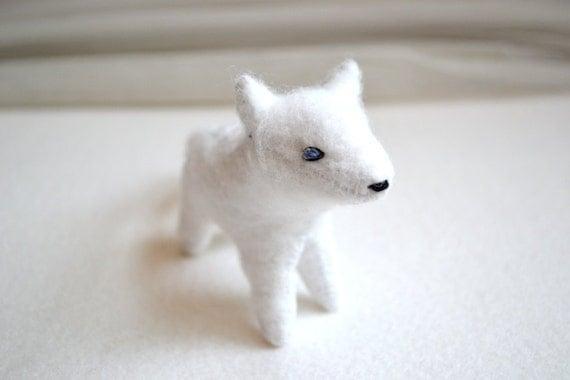 all white arctic fox - felt fox plush by royalmint