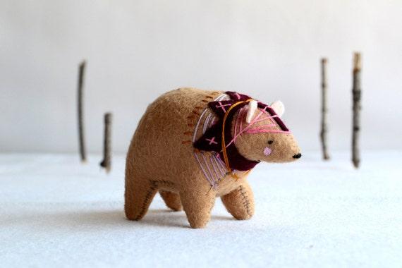 ukranian circus bear - felt bear soft sculpture by royalmint