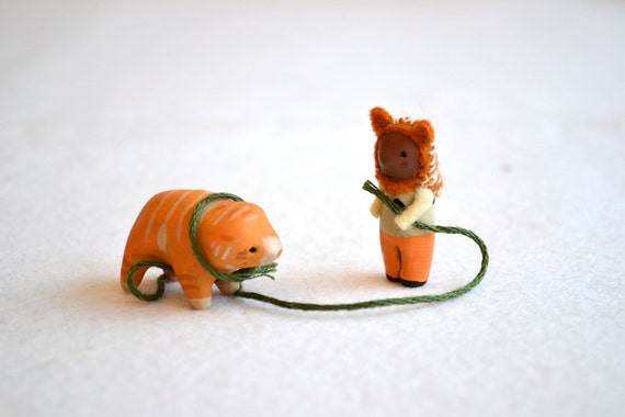 teddy the bear cat tamer - clay figurine, miniature sculpture by royalmint