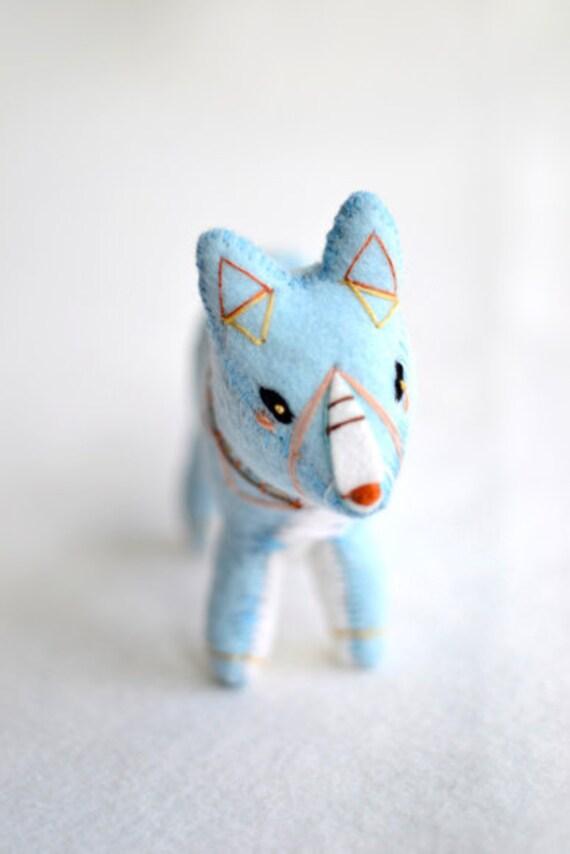 blue spirit fox - soft sculpture