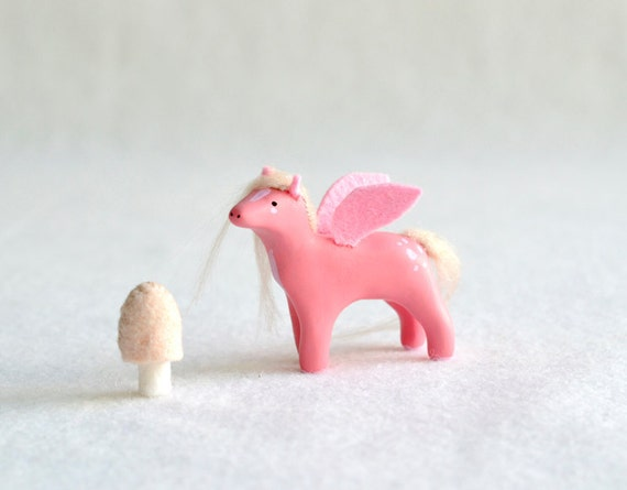 Reserved  - pink peagsus - polymer clay figurine / totem