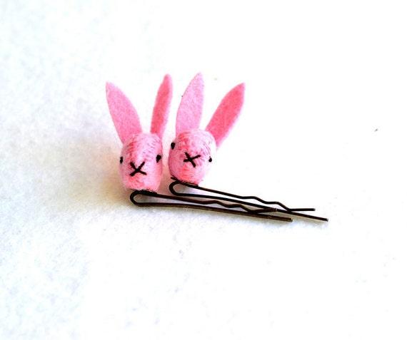 pink felt bunny rabbit bobby pins