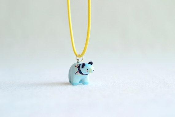 baby blue spirit bear pendant - charm necklace