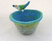 Felted Bowl Felt Vessel with Needle Felted Bird and Felted Pebble Grey Green Blue White Vintage Button