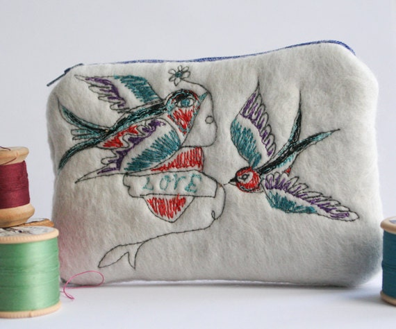 Felt Change Purse Wallet with Machine Embroidered Tattoo Design