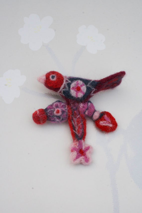 Felted Bird Pin Brooch with Felted Flowers - Needle Felted Pink Red Lilac Purple