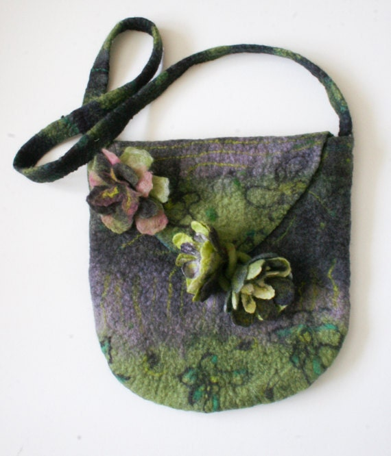 Wet Felted Green Purple Bag Purse  Felted Flowers & Pin