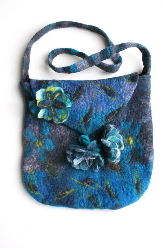 Blue Purple Felted Bag Purse with Felted Flowers Pin