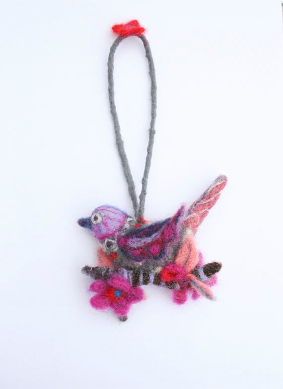 Needle Felted Decorative Ornamental Bird with Flowers