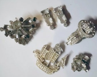 Antique Jewelry Destash - Rhinestone Pieces, REINAD mark