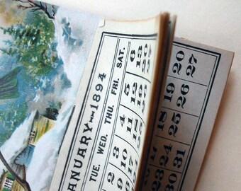 1894 Calendar Trade Card, Bird, Watches Jan-Dec calendar pages