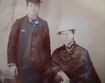 Tin Type Photo - Man and Woman, Couple in Hats - late 1800s