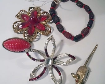 Vintage Jewelry Destash - Pieces in Red for Your Creations
