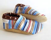 Buster Bison Booties baby Size 0 to 6 Months cloth shoes Ready to Ship Striped Nautical stripe baby