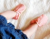 Pretty in Pink Bison Booties Size 0 to 6 Months Ready to Ship newborn baby