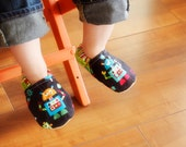 Robot Bison Booties Size 12 to 18 Months Toddler Size 4 Ready to Ship Slippers Geekery Gift