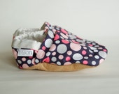 Allison Bison Booties Size 6 to 12 Months Pink Gray Baby polka dot Ready to Ship